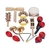 ammoon Percusión Set Instrumentos Musicales Juguetes Band Kit de Ritmo con el Caso para Niños