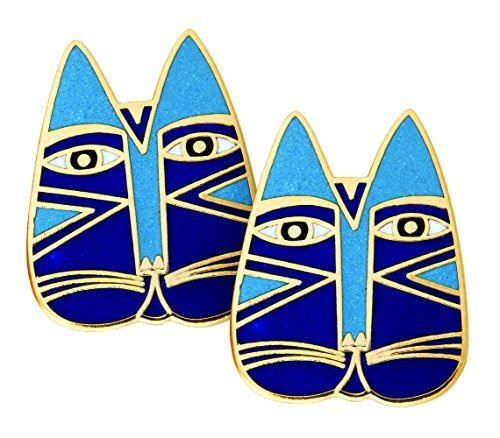 laurel-burch-blue-gato-cloisonne-cat-face-post-earrings-in-gold