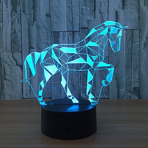 Leuchten Pferd (Neuheit 3D Puzzle Pferd Illusion Licht Lampe Led Nacht Lichter 7 Farben Touch-schalter Schreibtischlampe für Kinder Schlafzimmer Dekor Geschenke Lampen Beleuchtung)