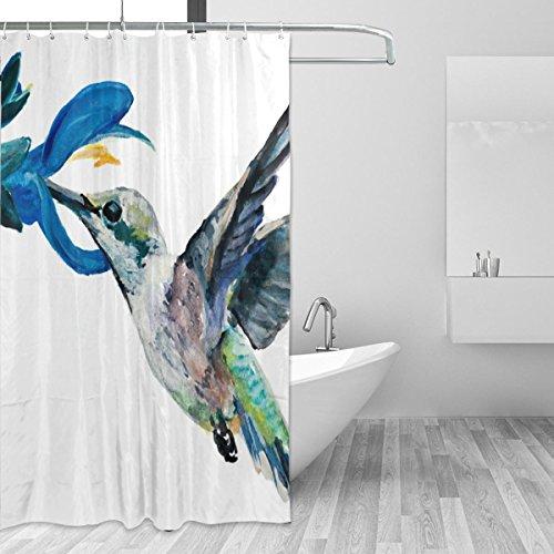 JSTEL Hummingbird Duschvorhang Schimmel resistent und wasserdicht Polyester Stoff 72x 72cm, extra-lange Badezimmer Deko-Liner mit Haken (Hummingbird Bad)