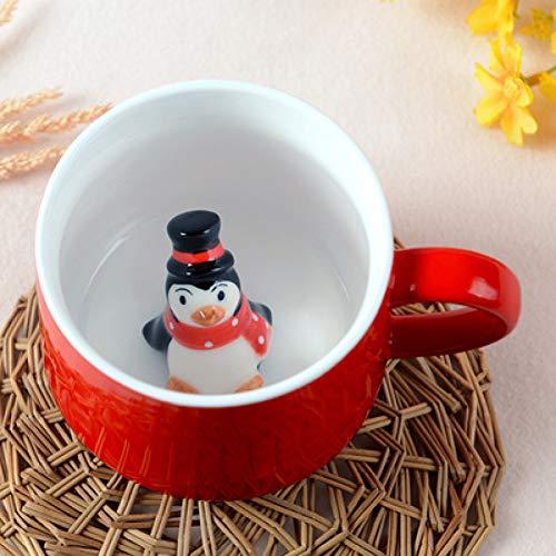Erjialiu 3D Stereo Tier Kaffeetasse Weihnachten begünstigt keramische Childen Kaffee Tee Milch Becher Paar gegen Tasse, Stil 04,301-400 ml