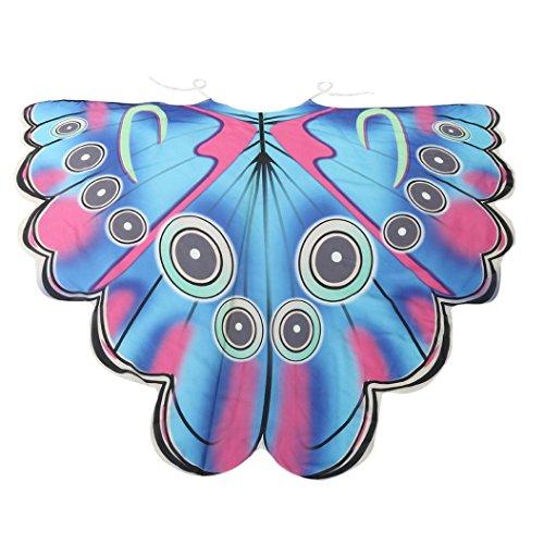 Chiffon Umschlagtücher, ESAILQ Damen Lange Schmetterling Flügel Weiche Schal überwurf Fairy Damen Nymphe Pixie Kostüm Zubehör 180X145CM / 185X145CM (Mehrfarbig, 185 x (Up Kostüm Make Augen Pfau)