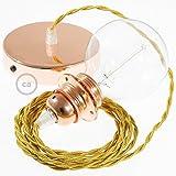 Creative-Cables Lampe Suspension pour Abat-Jour câble Textile Effet Soie Or TM05-1 Mètres, Cuivre, Kit Bricolage, Non