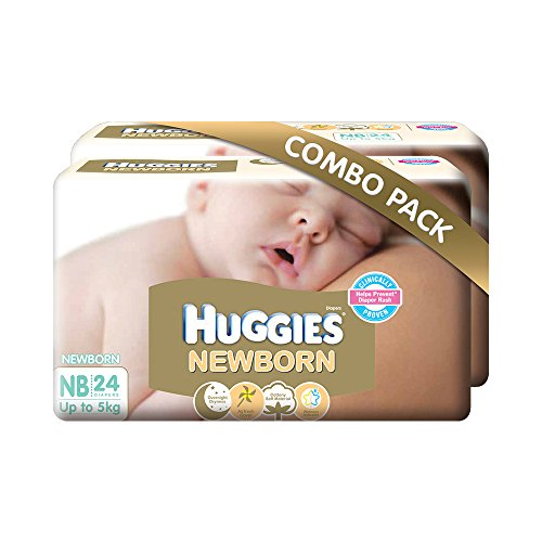 Huggies New Born Combo Pack (2 Packs, 24 Count per Pack)