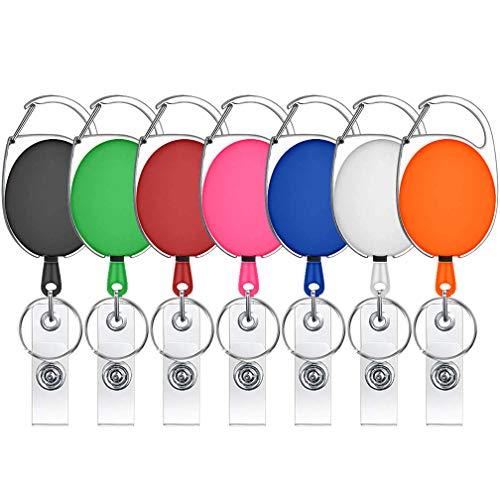 Ausweishalter, einziehbar, verschiedene Farben, Karabiner, Spule mit Clips für Schlüsselanhänger und Ausweis, 7 Farben (Mann Ohne Abzeichen)