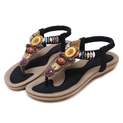 YoungSoul Damen Sandalen mit Zehensteg Bohemia Stil Sommerschuhe PU Leder Flach Sandaletten Schwarz EU 40 Jl6QnS