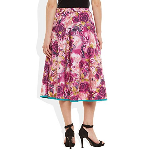 Damen Bekleidung Baumwolle gedruckt mittellanger Rock a-Linie Rosa