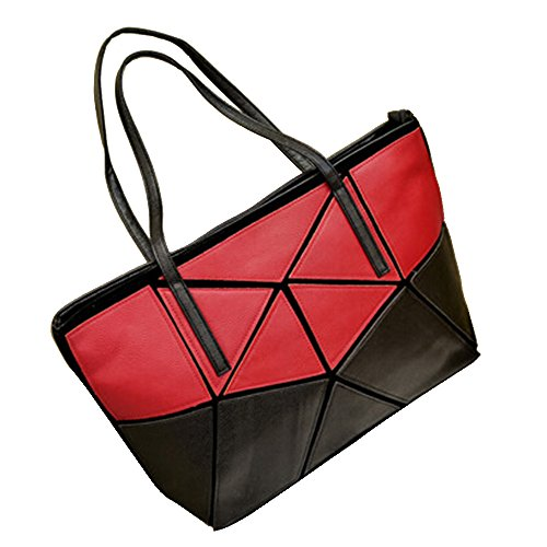 BYD - Donna Female Borse a mano Colore puro High Quality PU Leather Mutil Function Fashion School Bag Work Office Bag Borse Tote Bag Cross Block Color Rosso