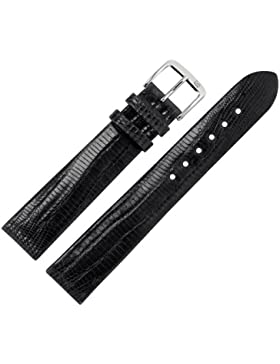 Uhrenarmband 20 mm Leder schwarz - Echt Teju - Ersatzarmband für Uhren - ohne Naht - schwarz / silber - Uhrenarmbänder...