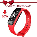 Christams Gift HR Fitness Tracker,Waterproof Activity Tracker Smart Watch with Pedometer Calories Counter and Sleep Monitor, Slim Fitness Wristband for Kids Women Men with Heart Rate Monitor ECG (50%)
