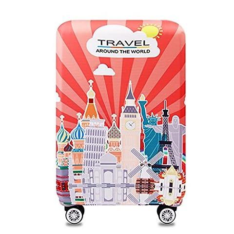 Bestja Elastisch Kofferhülle Kofferschutzhülle Gepäck Cover Reisekoffer Hülle Koffer Schutzhülle Luggage Cover mit Reißverschluss, Lieferumfang mit eine Aufbewahrungstasche (XL, Landmark)