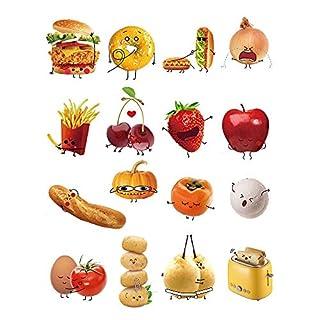 decalmile Stickers Cuisine Aliments Emoji Autocollant Décoration Murale Amovible DIY La Cuisine Salle A Manger Stickers Muraux Deco