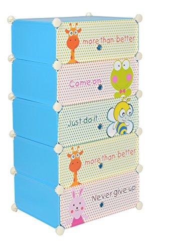 Ts-Ideen - Armarito zapatero de dormitorio infantil, azul, con 5 compartimentos y puertas con dibujos infantiles graciosos