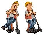 Bauarbeiter - Lustige Berufe Figur als Geschenk, Mitbringsel für Abschluss, Geburtstag, usw. Detailierte Kunststein-Figur
