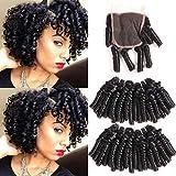 Ms Taj Brazilian Funmi Bundles cheveux avec fermeture Loose Wave 4 Bundles avec fermeture à lacets 4x4 Printemps Bouncy Curl Arml Hair Weave 50g / Pc Noir naturel