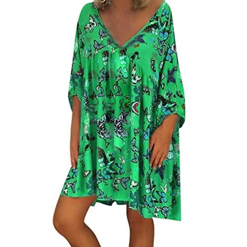 LOPILY Damen Strandmode Kleider Sommer Schmetterling Blumendruck Strandkleid V-Ausschnitt Lose Tunika Kurzarm T-Shirt Kleid Sommerkleider Plus Size(Grün,EU-36/CN-M)