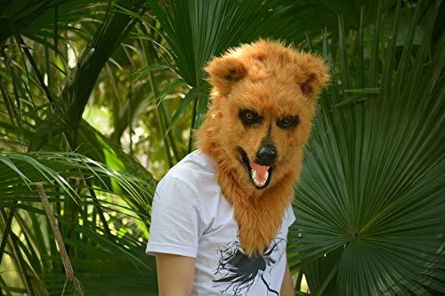 LUANAYUN-TOYS Kopf Tiermaske handgefertigte Mundschieber Halloween Brown Wolf Masken für Weihnachten Ostern Karneval Kostüm Parteien Tag Party Nachtclub Tiermaske ( Color : Brown , Size : 25*25 ) (Wolf Maske Halloween Uk)