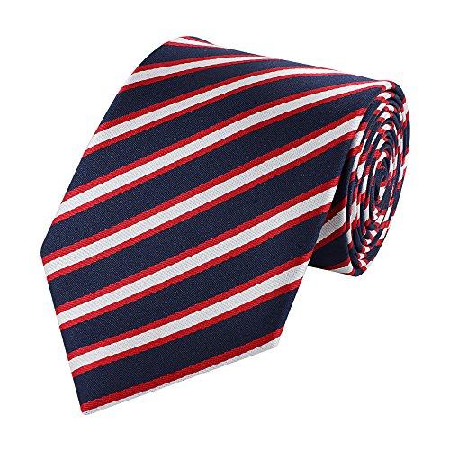 Fabio Farini luxoriöse, dunkelblaue 8 cm Krawatte mit rot-weißen Streifen, Buisness, Anzug-Krawatte