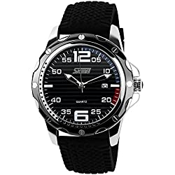 ufengke® stripe dial silicone strap calendar wrist watch for men,casual waterproof watch,black dial black band