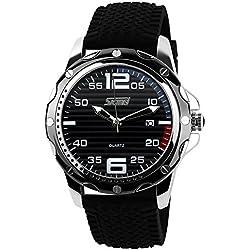 ufengke® raya de marcado de silicona correa reloj de pulsera muñeca calendario para los hombres,30 m reloj de pulsera impermeable casual,banda negro esfera de color negro