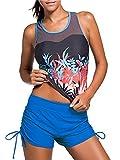 Azue Badeanzug Damen Bauchweg Tankini Push up Bademode Sportlich Badebekleidung Schwimmanzug Zweiteiliger Strandmode Blaues Blumenmuster EU 38-40