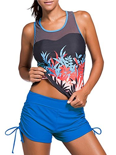 Azue Damen Mädchen Tankini 2 Teilig Badeanzug mit Shorts Bauchweg Bademode Oversize Schwimmanzüge Wasserpflanze M