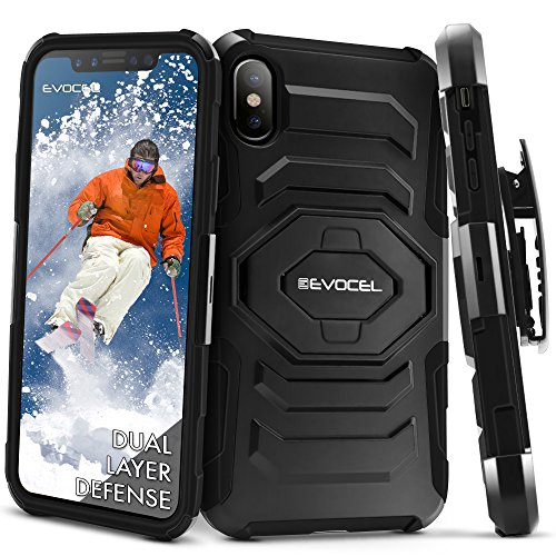 iPhone X Fall, evocel [New Generation] Rugged drehbarem Gürtelclip Holster Dual Layer Fall [ausklappbarem Ständer] [] für iPhone X/iPhone 10(2017Release), Schwarz (Clip Belt Case-swivel)