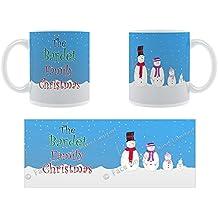 La famille Bardet de Noël Motif bonhomme de neige de Noël Famille nom Tasse