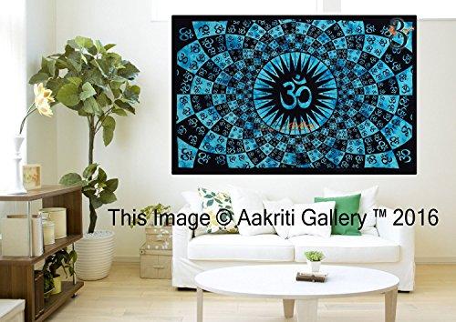 Art arazzo singolo turchese da parete Full Om Mandala Arazzo Hippie 213,4x 139,7cm Aakriti Gallery