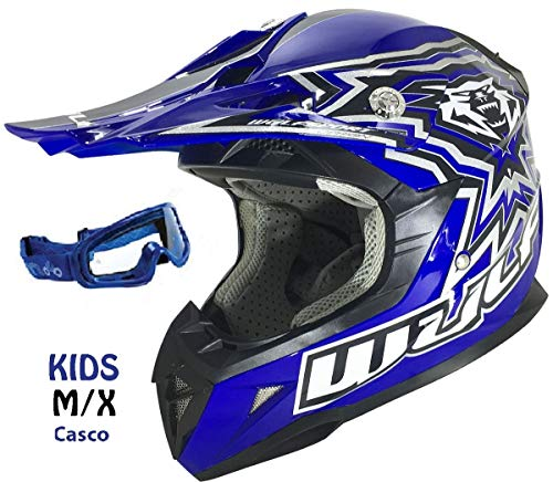 Wolfsport Cub Motorradhelm für Kinder WULFSPORT ATV Helm Motocross Rennhelm Mit Brille (M, Blau) - Atv Kinder Blau Helm