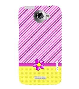 Stripes Checks Floral 3D Hard Polycarbonate Designer Back Case Cover for HTC One X