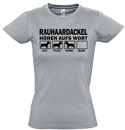 Wiener Dog T-shirt (Siviwonder RAUHAARDACKEL Dackel Teckel Wiener Sau Jagd Rauhhaardackel - Hören AUFS Wort Women Girlie T-Shirt Sports Grey L -38)