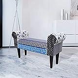 Xingshuoonline Sitzbank für den Innenbereich, Marine-Stil, Farbkombination aus Holz, Rahmen aus Sperrholz + Füße aus Eiche.