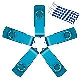 Uflatek 5stück 32MB Speicherstick, Azurblau Flash Drive Hi-Speed Memory Sticks Mini Pen Drives USB 2.0 U-Disk mit Schlüsselanhänger - Gutes Geschenk