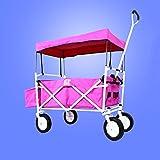 Ali Lamps@ Carrello a mano, carrelli piccoli da pesca semplici, esci Carrello da campeggio per bambini, auto per animali, carico di 70 kg (Colore : Pink)