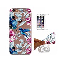 For iPhone 6 Plus Case,For iPhone 6S Plus Case [With Tempered Glass Screen Protector],Fatcatparadise(TM) Anti Scratch Transparent Soft Silicone Cover Case ,Colorful Cute Pattern Ultra Slim Flexible Non-Slip Design TPU Protective [Crystal Clear] Shell Bump