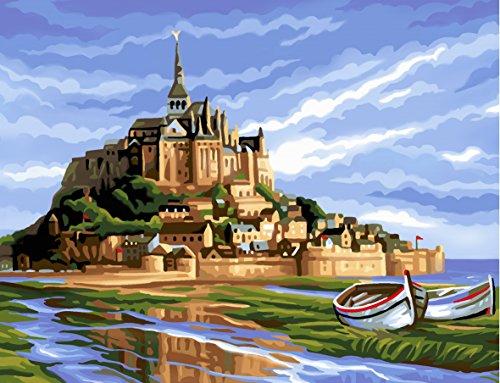 L'Art et la Manière Peinture au numéro motif Mont-Saint-Michel 30 x 40 cm Couleurs Assorties