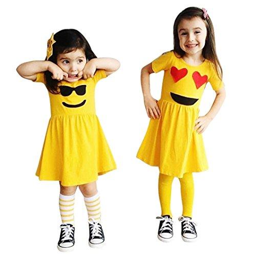 Kingko® Baby Girls Dress, Kids Summer Twin Sisters Girl Cute Sunshine Funny Smile Emoji Suit Dress For 0-5 Years Old