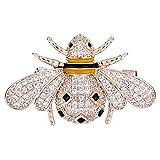 Clearine Femme Bijou Fantaisie Cute Zircon Reine des abeilles Email Broche Epingle Cadeau Idéal Doré...