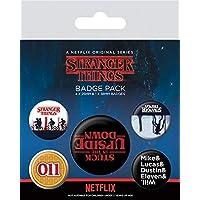 Stranger Things - Upside Down, 1 X 38mm & 4 X 25mm Badges Set De Chapas (15 x 10cm)