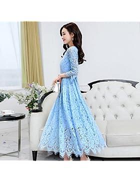 GAOLIM Vestidos Primavera Vestidos De Mujeres Funda Una Palabra Falda, M, Azul Claro