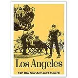 Los Angeles, Kalifornien - United Air Lines Fliegen Jets - Hollywood-Film-Set - Vintage Retro Fluggesellschaft Reise Plakat Poster c.1950s - Premium 290gsm Giclée Kunstdruck - 30.5cm x 41cm