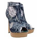 GONGFF Ms. Sandali Stivali Da Cowboy Stivali Con Tacco Alto Shuitai Pesce Bocca Scarpe Lace Cowboy Hole Scarpe Casual Da Manuale,#1,37