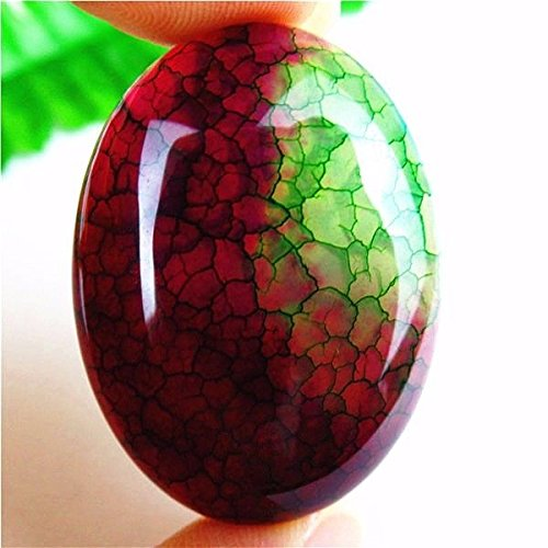 AST Works 1Pcs Nice Rose&Green Dragon Veins Fire Agate Oval Cab Cabochon 40*30*7mm HH1751