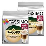 Tassimo Latte Macchiato Vanilla, Kaffee, Vanille Milchkaffee Kaffeekapsel, gemahlener Röstkaffee, 32 T-Discs / 16 Portionen