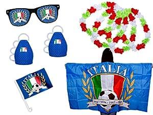 Fußball EM Fanpaket Italien mit Flagge Brille Hawaiiketten Autofahne Caxirola FP-04 von Alsino