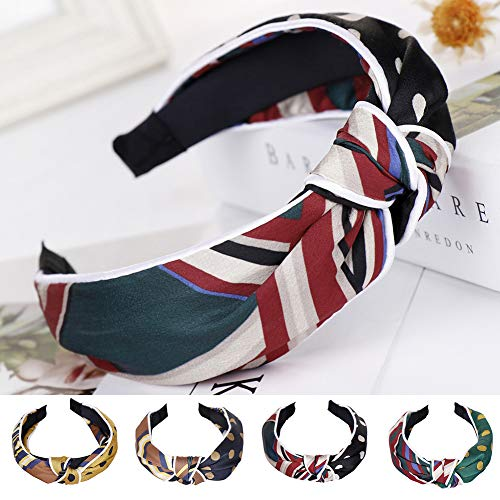 Homeofying Fashion Striped Dots Cross Knot Haarband Loop Stirnband Women Wide Rim Headwear Stirnband Für Frauen Navy blau -