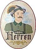 Kaltner Präsente Geschenkidee - Holz Türschild im Antik Design Motiv WC Toilette HERREN (Ø 18 cm)