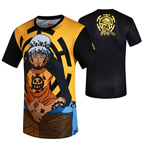 tzxdbh T-Shirt a Maniche Corte Vestiti circostanti Anime Rufy Camicia Estiva Casual da Uomo Fumetto Stampato Cartoon XXL