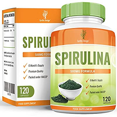 Earths Design Organic Spirulina Extract, Maximum Strength Supplement that Boosts the Immune System, Lowers Blood Pressure, Reduces Cholesterol and Boosts Energy, Made in the UK, 500mg - 120 Capsules from Earths Design